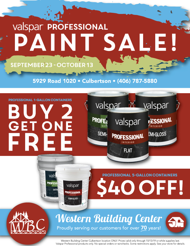 Save big on all Valspar Professional paints - now through October 13 only at WBC Culbertson!