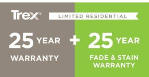 25 year fade and stain warranty supplier of Trex Composite Decking